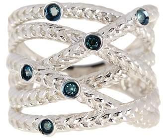 Savvy Cie Bezel Blue Diamond Crossover Ring - 0.10 ctw