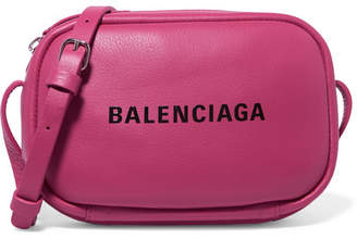 Balenciaga Everyday Printed Textured-leather Camera Bag - Bright pink
