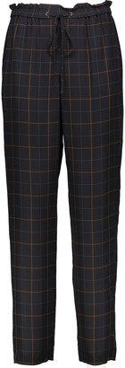Theory Tralpin checked silk straight-leg pants $295 thestylecure.com