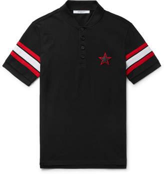 Givenchy Cuban-Fit Leather-Trimmed Cotton-Piqué Polo Shirt