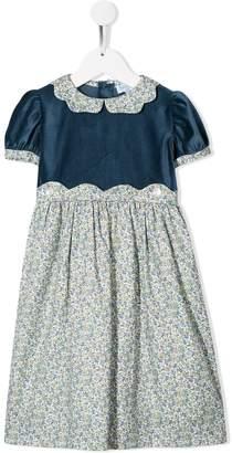 Siola velvet-panelled floral-print dress