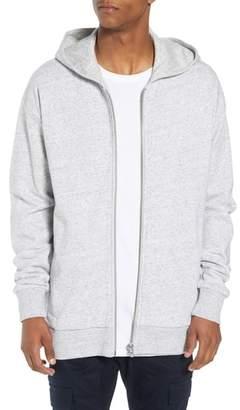 Zanerobe Heathered Front Zip Cotton Hooded Sweatshirt