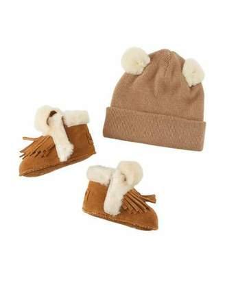 UGG Darlala Suede Fringe Booties & Knit Wool Beanie Hat w/ Ears, Baby