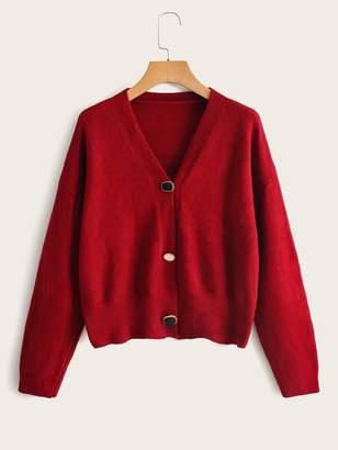 Shein Drop Shoulder V Neck Button Through Cardigan