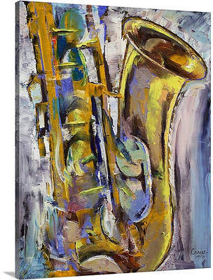 Canvas On Demand Jazz Sax by Michael Creese Painting Print on Canvas