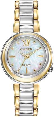 Citizen Women's Eco-Drive L Series Sunrise Two-Tone Stainless Steel Bracelet Watch 30mm EM0337-56D