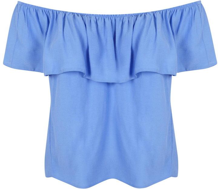 Blue ruffle bardot top