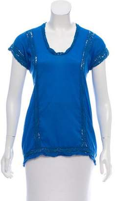 Etoile Isabel Marant Lace-Trimmed Short Sleeve Top