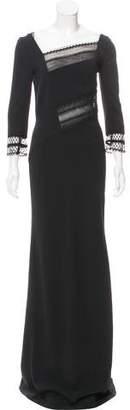 Roland Mouret Lace-Paneled Evening Dress