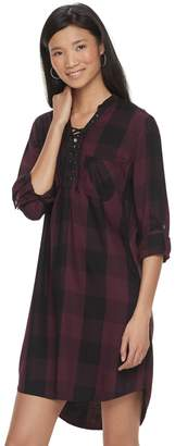 Rock & Republic Women's Plaid Lace-Up Shirtdress