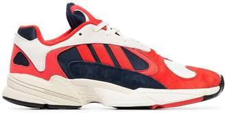adidas red, white and black yung 1 suede leather and cotton sneakers
