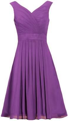 ANTS Women's Straps Chiffon Bridesmaid Dress Short Evening Gowns Size US