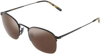 Oliver Peoples Rickman 51 Round Semi-Rimless Metal Sunglasses