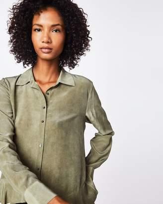 Nicole Miller Stone Wash Cdc Asymm Button Down Shirt