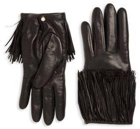 Portolano Fringed Leather Gloves $225 thestylecure.com