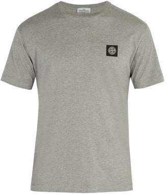 Stone Island Logo Patch Cotton T Shirt - Mens - Grey