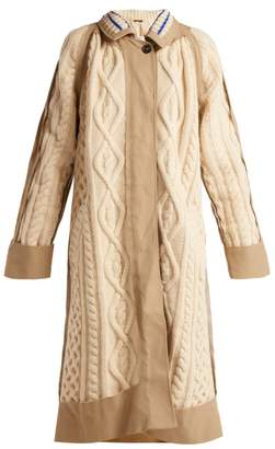 Maison Margiela Cable Knit Wool Blend Coat - Womens - Cream