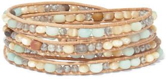 Chan Luu Leather And Silver-tone Multi-stone Wrap Bracelet - Brown