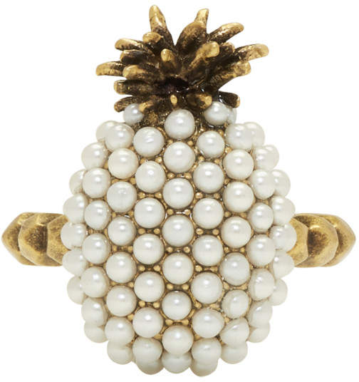 Gold Small Pearl Pineapple Ring