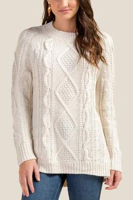 francesca's Winslet Braided Cable Knit Sweater - Ivory