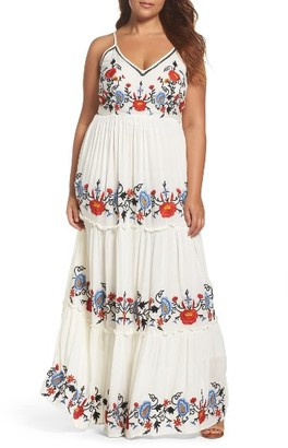 Plus Size Women's Glamorous Embroidered Tiered Gauze Maxi Dress $159 thestylecure.com