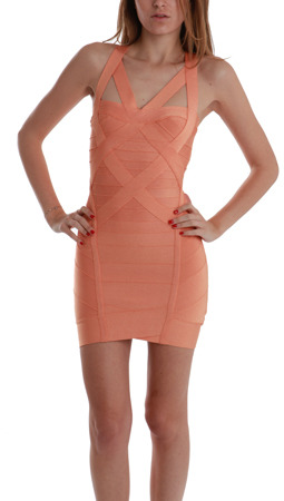 Herve Leger Bandage Strap Dress in Papaya