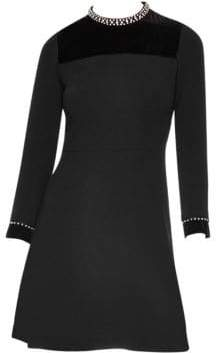 Sandro High-Collar Fit-&-Flare Dress