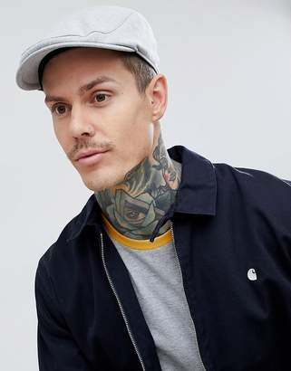 Asos DESIGN Flat Cap In Gray With Delave Embroidery