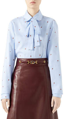 Gucci Strawberry Fil Coupe Tie-Neck Blouse