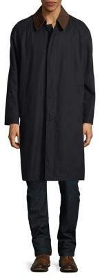 Hart Schaffner Marx Leather Collar Zip-Lined Raincoat