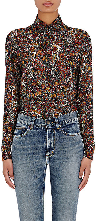 Saint Laurent Saint Laurent SAINT LAURENT WOMEN'S PAISLEY BUTTON-FRONT SHIRT