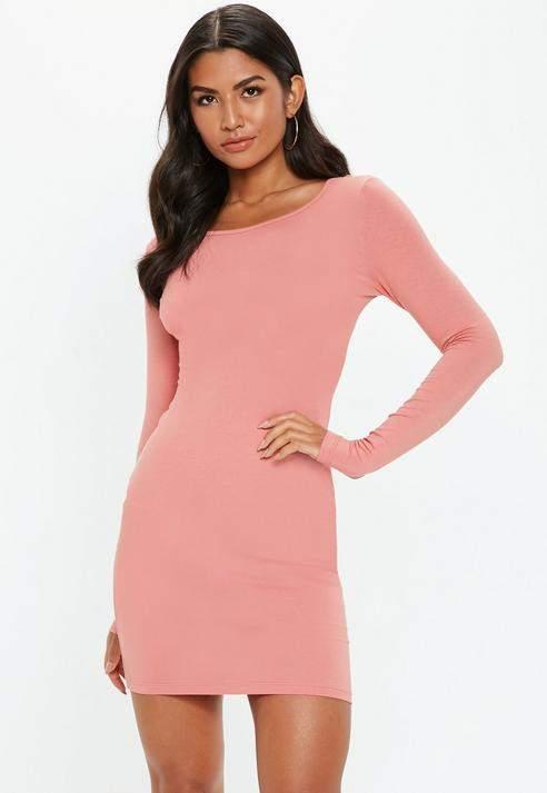 Terracotta Bodycon Long Sleeve Mini Dress, Terracotta