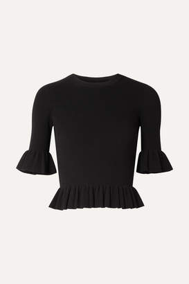 Michael Kors Cropped Ruffled Ribbed-knit Sweater - Black