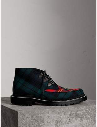 Burberry Tartan Wool and Leather Ankle Boots