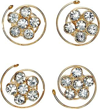 Dcnl Flower Rhinestone Spinners 4 Count