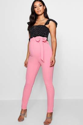 boohoo Maternity Tie Waist Tapered Tailored Trouser