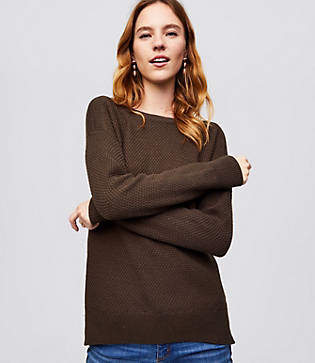 LOFT Petite Textured Boatneck Sweater