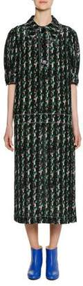Marni Short-Sleeve Macro Tweed Print Silk Woven Mid-Calf Dress