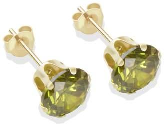 ca1a7c229 9ct Gold Dark Peridot Coloured CZ Stud Earrings