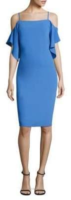 Laundry by Shelli Segal Cold-Shoulder Flutter-Sleeve Sheath Dress