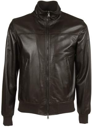 Orciani Classic Leather Bomber Jacket
