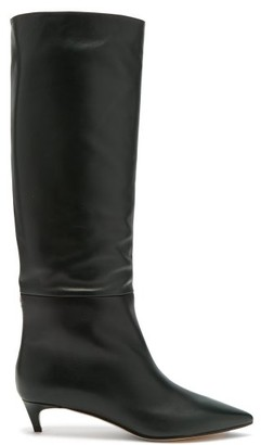 Jimmy Choo Maxima 35 Leather Knee High Boots - Womens - Dark Green