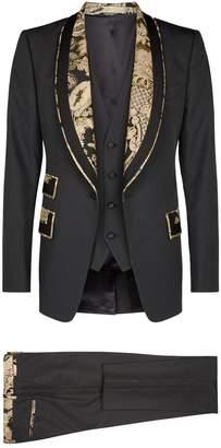 Dolce & Gabbana Brocade Trim Three-Piece Suit