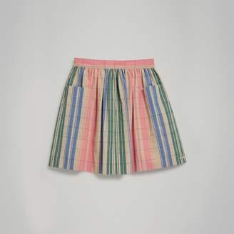 Burberry Check Gathered Cotton Skirt