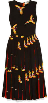 Diane von Furstenberg Talita Pleated Printed Silk Crepe De Chine Dress - Black