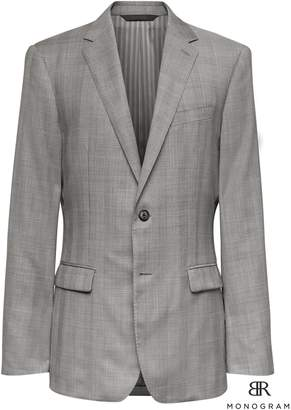 Banana Republic Monogram Slim Gray Plaid Italian Wool Suit Jacket
