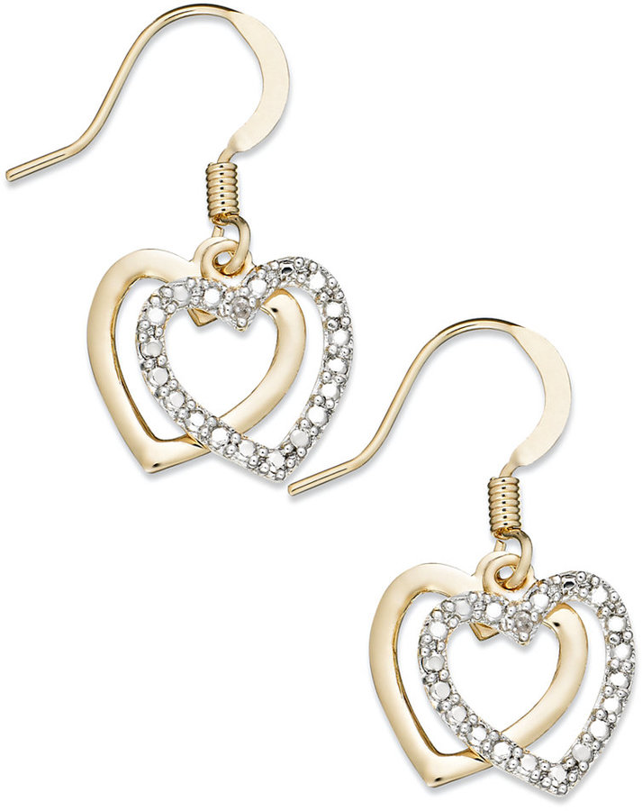 Victoria Townsend 18k Gold over Sterling Silver Earrings, Diamond Accent Heart Drop Earrings
