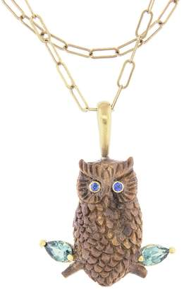 Cathy Waterman Sapphire and Tourmaline Wood Owl Charm - Yellow Gold