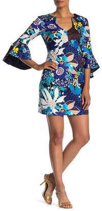 Trina Turk Winnie Bell Sleeve Floral Print Dress