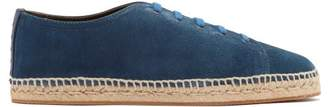 Bottega Veneta Intrecciato Leather Trimmed Suede Trainers - Mens - Blue Multi